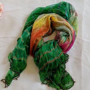 Silk scarf pink orange green